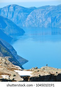 Lysefjord - Kjerag is a popular mountain peak that towers a 1000 metres over the Lysefjord