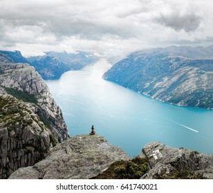 Lysefjord and mountains, view from above. Epic landscape of wonderful Norwegian nature. Location on the hiking way to Preikestolen landmark, famous and popular natural travel destination in Norway.