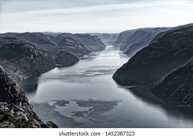 Lysefjord seen from the famous Pulpit Rock. The Pulpit Rock or Preacher's Chair is a tourist attraction in the municipality of Forsand in Rogaland county