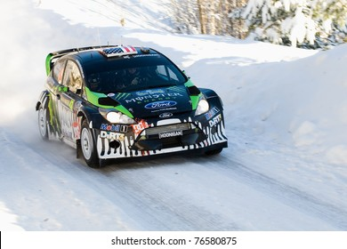 LYSVIK, SWEDEN - FEB 11: Ken Block drives a Ford Fiesta RS for the Monster World Rally team during the World Rally Championship event Rally Sweden 2011 in Lysvik, Sweden on feb 11, 2011