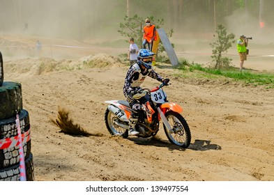 LYTKARINO, MOSCOW REGION, RUSSIA - MAY 18: Rider #33 Vorobiev George in action during motorcross motor club event Forsazh in Lytkarino, Moscow on May 18, 2013.