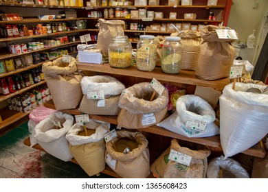Lyttelton, Canterbury, New Zealand, April  7 2019: Sacks and jars of organic grains and beans at the Harbour Co-op shop