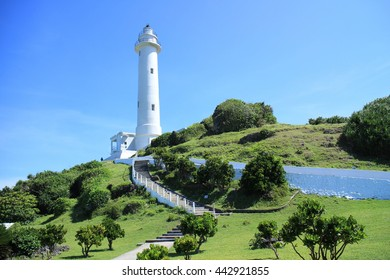 The Lyudao Lighthouse in Green Island, Taitung County, Taiwan.