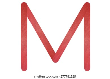 M English alphabet by red wood on isolated white background
