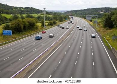 M1 four lane smart motorway in West Yorkshire