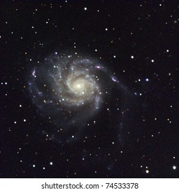 M101, The Pinwheel Galaxy, 25 million light years away in Ursa Major. It is rougly twice the size of our Milky Way galaxy, 170,000 light years across