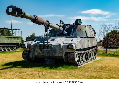 A m109 self-propelled howitzer on public display