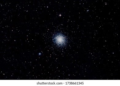 M13 globular star cluster in the constellation of Hercules, taken with a small telescope
