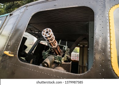 M134 Minigun mounted inside a Huey helicopter at the War Remnants Museum in Ho Chi Minh City Vietnam Asia