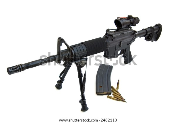 M16 Colt M4 Flattop Isolated On Stock Photo (Edit Now) 2482110