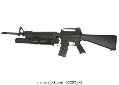 An M16 rifle equipped with an M203 grenade launcher isolated on white background