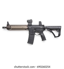 M16 Rifle with Weapon Sight Isolated on White Background. Rifle of the Armed Forces. Assault Rifle. Military Gun