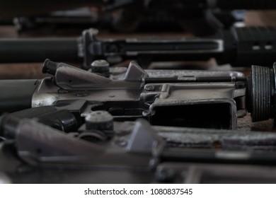 M16A2 old military gun.