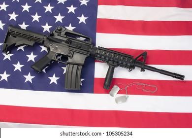 M4 RIS assault carbine on us flag