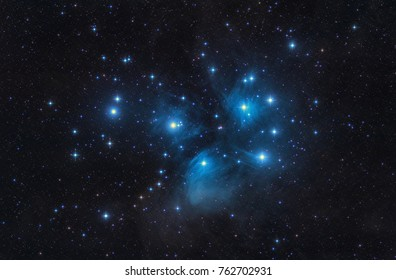 M45 - the Pleiades, Seven Sisters,  Deep Sky Astrophoto, Science. 				the plejades M45 open star cluster in the constellation of taurus.