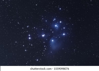 M45 Pleiades Star in the dark night sky