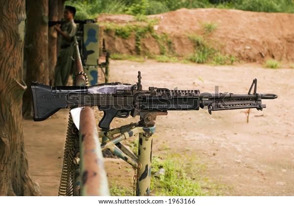 M60 Machine Gun Loaded Live Ammunition Stock Photo (Edit Now