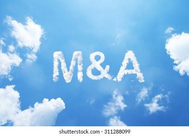 M&A cloud word on sky.