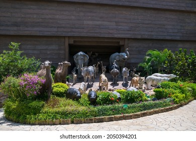 Ma Wan Island, Hong Kong - 30 Aug, 2014: Life-size statues of animal pairs in the garden of the Noah's Ark theme park, Hong Kong