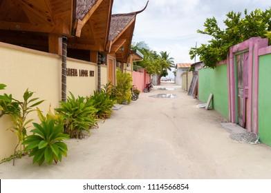 Maafushi, Maldives - May 2, 2014: Tropical hotel Arena Lodge Sky in Maafushi island.