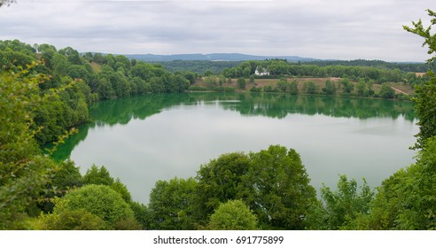 Gemündener Maar lake, Germany Rhineland-Palatinate land, aerial view