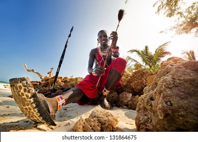Maasai by the ocean on the beach. Kenya