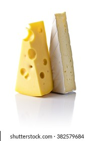 maasdam and bri cheese isolated on a white background