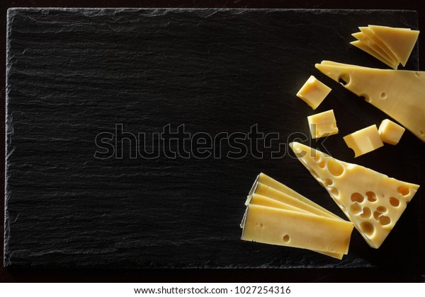Maasdam Emmental Appenzeller Cheese Slices Isolated Stock
