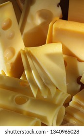 Maasdam and emmental cheese slices