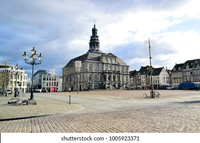 The Maastricht city hall is a classic style located on the Markt in the center of Maastricht, build in 1659-1664 or in 17th century and designed by Pieter Post in Limburg, Netherlands, Europe.