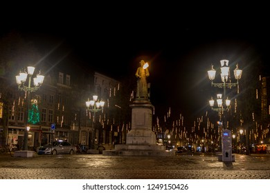 Maastricht, Limburg, The Netherlands - 28/11/2018 City town hall and market square of Maastricht in the early night decorated with lights for the holidays.