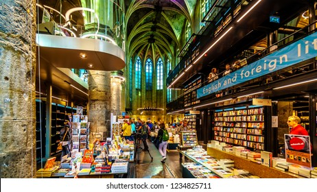 Maastricht, Limburg / the Netherlands -  Sept. 21, 2018: An ancient Dominican Church converted into a Modern Bookstore in the historic center of Maastricht, the Netherlands