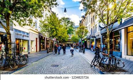 Maastricht, Limburg / the Netherlands -  Sept. 21, 2018: Shopping in the Maastrichter Brugstraat in the center of the historic city of Maastricht in the Netherlands