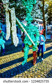 Maastricht, Limburg / the Netherlands -  Sept. 21, 2018: Sculptures made from hard resin by artist Han van Wetering and dedicated to carnival. On the Vrijthof square in the historic city of Maastricht