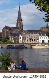 Maastricht, Netherlands. 07.29.16. River Meuse and the city of Maastricht in the Netherlands.  An industrial city and capital of the province of Limburg. It is situated on both sides of the River Maas