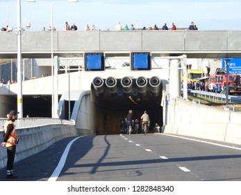Maastricht, The Netherlands - 30 Oktober 2016: Koning Willem-Alexander tunnel A2 open for cyclists.