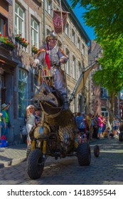 Maastricht, Netherlands 6/2/2019 Abacus Street Theater  with the Ironwings creatures during a historical parade in Maastricht