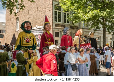 Maastricht, Netherlands 6/2/2019 giants waiting to take part in 5 annual parade in downtown maastricht with over 100.000 visitors. Giants from all over Europe take part in this parade