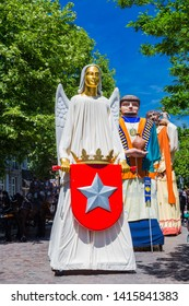 Maastricht, Netherlands 6/2/2019 Ingel vaan Mestreech (angel from Maastricht) a giant from Maastricht taken part in the 5 annual giant parade in downtown Maastricht with giants from all over Europe