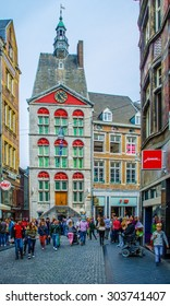 MAASTRICHT, NETHERLANDS, APRIL 12, 2014: People are shopping on grote staat street in maastricht.