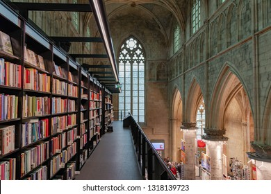 MAASTRICHT, THE NETHERLANDS - April 26, 2018: Boekhandel Dominicanen, An ancient Dominican Church converted into a bookstore, Polare Maastricht was voted the most beautiful bookstore in the world.