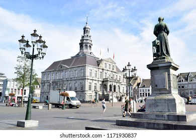MAASTRICHT, NETHERLANDS - August 01, 2018: The Maastricht city hall is a classic style located on the Markt in center of Maastricht, build in 1659-1664 or in 17th century and designed by Pieter Post.