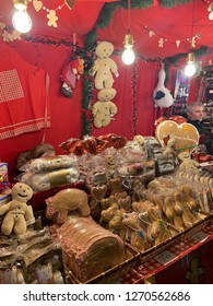 Maastricht, The Netherlands - December 7, 2018: Cookie shop in Christmas Night Market in Maastricht, Netherlands.