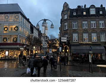 Maastricht, The Netherlands - December7,2018: Atmosphere around Christmas night market in Maastricht, Limburg