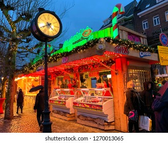 Maastricht, The Netherlands - December7,2018: Atmosphere of Christmas night market in Maastricht, Limburg