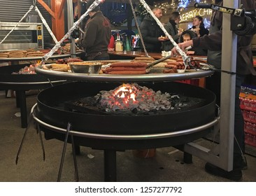 "Maastricht, The Netherlands - December7,2018: The German sausage named ""Bratwurst""in Christmas night market in Maastricht, Limburg."