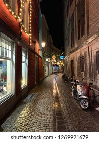 Maastricht, The Netherlands - December7,2018: Street view at night during  Christmas time in Maastricht, Limburg