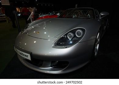 MAASTRICHT, NETHERLANDS - JANUARY 08, 2015: Supercar Porsche Carrera GT (Project Code 980), 2005. International Exhibition InterClassics & Topmobiel 2015
