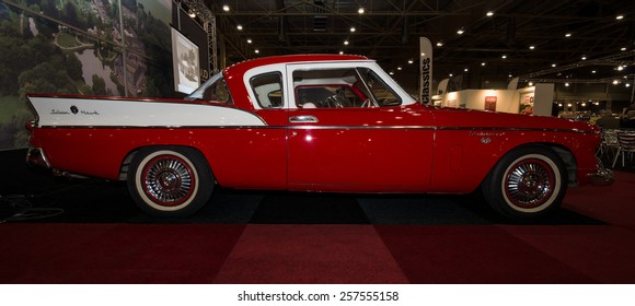 MAASTRICHT, NETHERLANDS - JANUARY 09, 2015: Oldtimer Studebaker Silver Hawk, 1957. International Exhibition InterClassics & Topmobiel 2015
