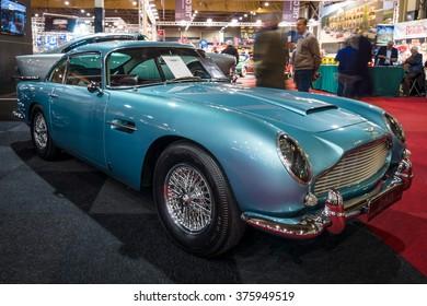 MAASTRICHT, NETHERLANDS - JANUARY 15, 2016: Grand tourer coupe Aston Martin DB5, 1964. International Exhibition InterClassics & Topmobiel 2016